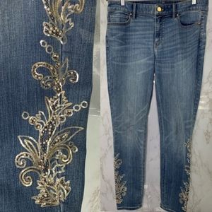 WHBM the skinny ankle classic rise beaded jeans 8